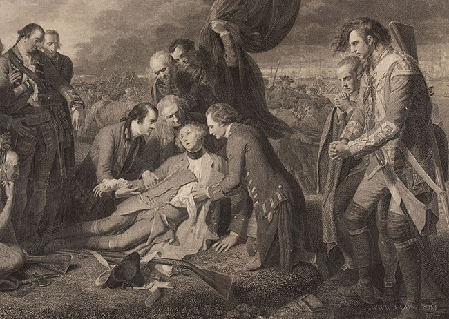 Antique Engraving of the Death of Wolfe, by William Woollet, 1776, wolfe detail
