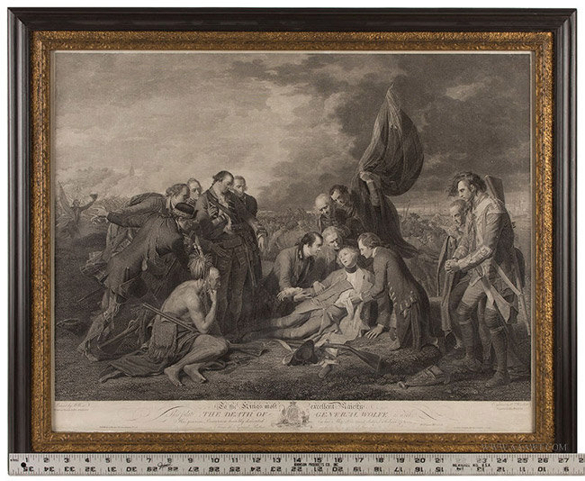 Antique Engraving of the Death of Wolfe, by William Woollet, 1776, with ruler for scale