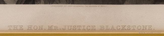 Antique Engraving Sir William Blackstone, After Thomas Gainsborough, 1875, title detail