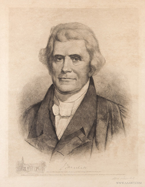 Antique Engraving of John Marshall, After chester Harding, 1901, close up view