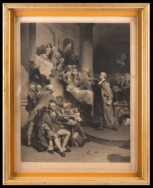 Antique Engraving of Patrick Henry in the House of Burgesses, After P.J. Rothermel, 1852, entire view
