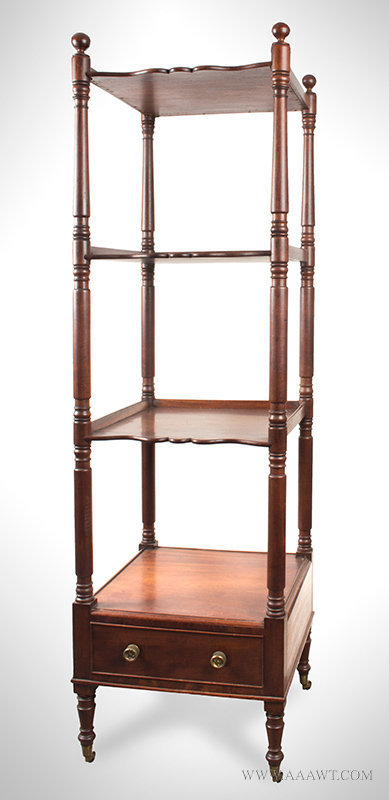 Antique American Etagere with Four Tiers and One Drawer, 1825, angle view