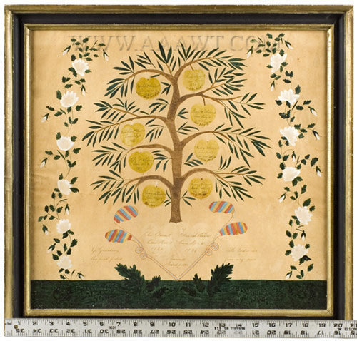 Family Record, Schoolgirl Watercolor, Family Tree within Landscape  Clement family record, North Middlesex County  Townsend, Massachusetts  Circa 1820, scale view