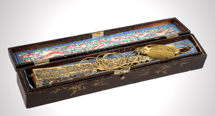 Chinese Export Fan in Lacquered Box, Landscape and Figures, Brilliant Color  Hand painted, carved wood, paper and silk, gilt decorated black lacquer, entire view