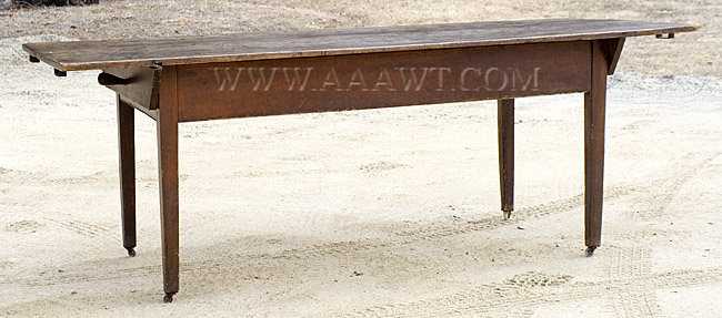 The Large Overhanging Top With Shaped Cleats Is Attached To Plain Apron And  Secured By Original Turned Pins; Table Raised On Slightly Tapering Legs.