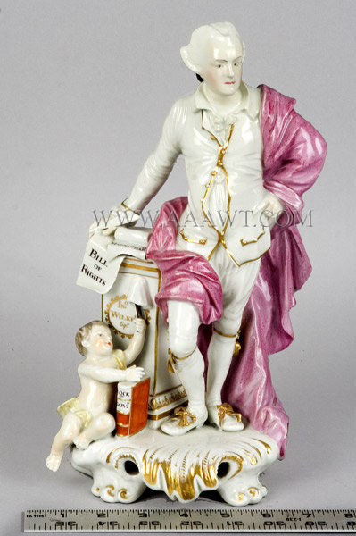 Derby Porcelain Figure, John Wilkes on Rocco Scrolled Pedestal  British politician who endeared himself to the American colonies  Circa 1775, scale view