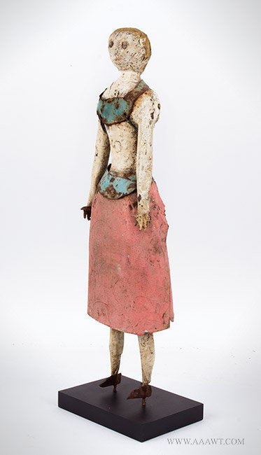 Antique Sculpture, Woman Figure, Wood and Metal, left angle view