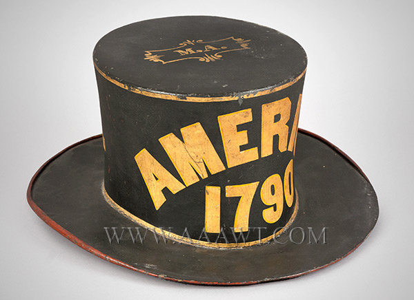 Antique Fireman's Parade Hat, Pressed Beaver Felt, Circa 1840, Paint Decorated, angle view