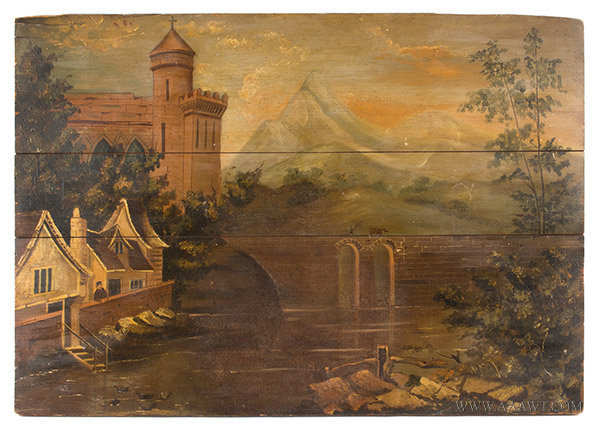 Fireboard, Painted, Classic Castle Landscape, Maine History, Artist Signed By descent, the Hansen Family of South Berwick, Maine (Painted for family home) Circa 1830's, entire view