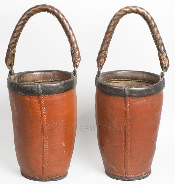 Antique Fire Buckets, Pair, R.H.T. Taylor, 1869, rear view