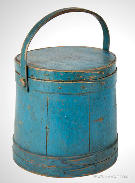 Firkin, Bucket, Stamped C. Hersey, Beautiful Original Blue Paint  Hingham, Massachusetts, 19th Century, entire view