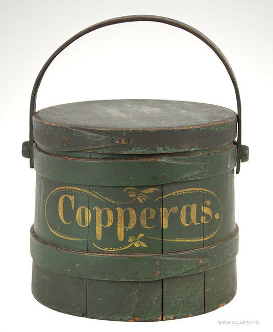 Antique Early Paint Decorated Firkin with Original Surface History, Copperas, 19th Century, angle view