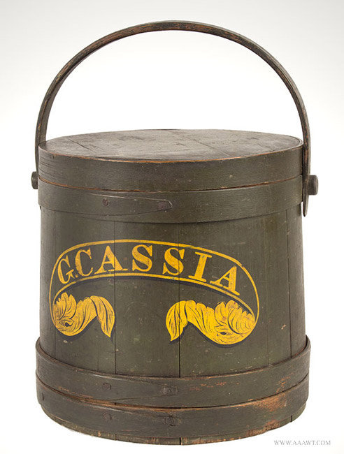 Antique Paint Decorated Firkin in Original Yellow and Green, Cassia, 19th Century, angle view