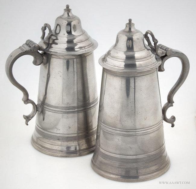 Antique Pair of Quart Pewter Flagons by Robert Bush, England, pair view