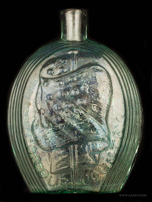 Antique Mold Blown Flask with Eagle and Flag, 19th Century, flag side view
