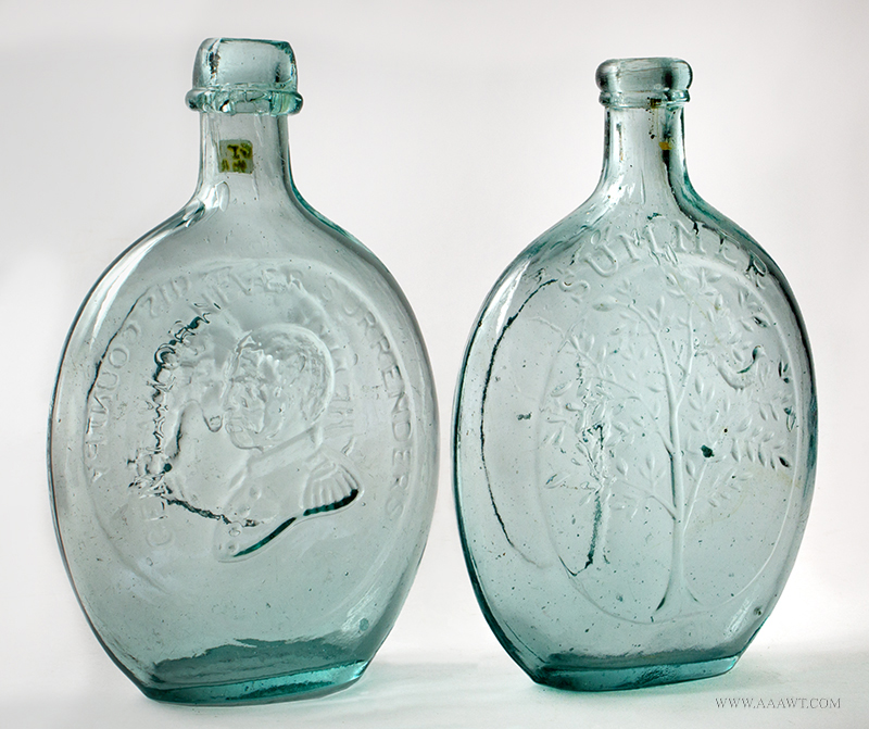 LATE 18TH CENTURY PITTSBURGH FLINT BLOWN GLASS ROUGH PONTIL DECANTER//APOTHECARY