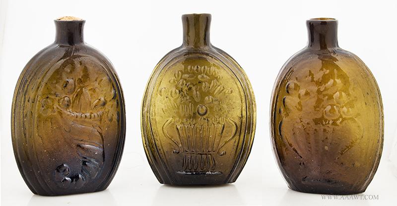 Pictorial Cornucopia Half-Pint Flasks, entire view