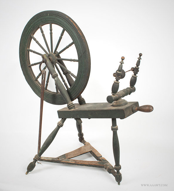 Antique Early American Spinning Wheel in Great Paint, New England, angle view 1