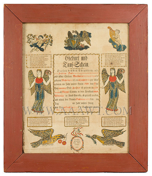 Fraktur, Birth Record, 1821, Adams County Pennsylvania  Printed at Hanover by D.P. Lange  Dated 1821, entire view