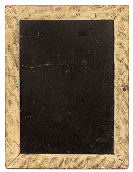 Off White Paint Decorated Picture Frame Repurposed as a Mirror, 19th Century, entire view