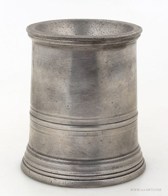 Antique Pewter Pint Funnel Mug by Sanders and Sons, London, entire view