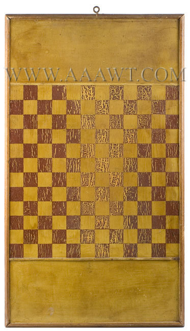 Antique Gameboard, Red, Yellow and Black Paint, Red Checkerboard side