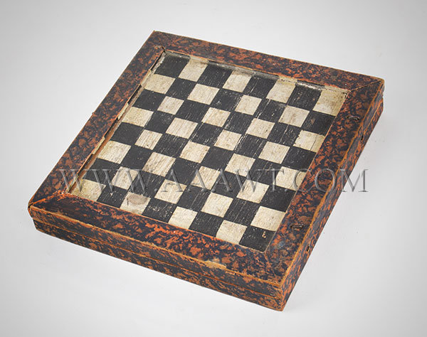 Antique Game Board, Travel Size, Folding, Late 19th Century, angle view