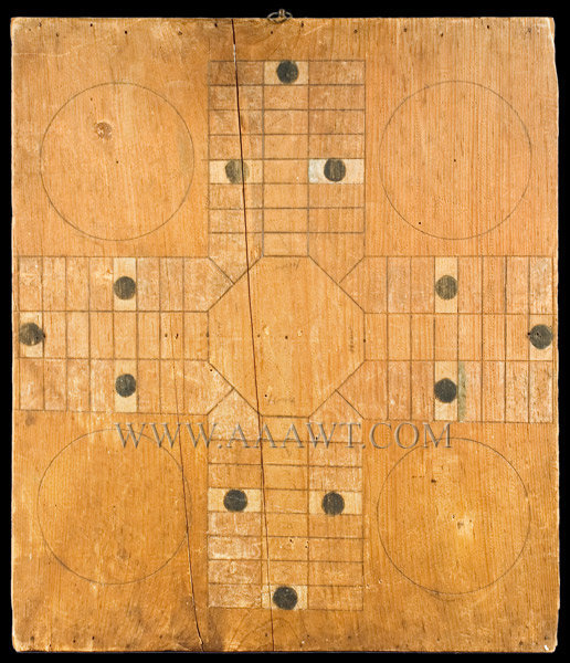 Antique Game Board, Parcheesi, Natural Surface, Circa 1900, entire view