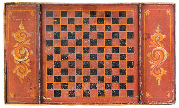 Antique Gameboard, Checkers, Original Paint, 19th Century, entire view