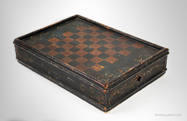 Antique Checkerboard Box with Drawer in Original Paint and Decoration, 19th Century, angle view