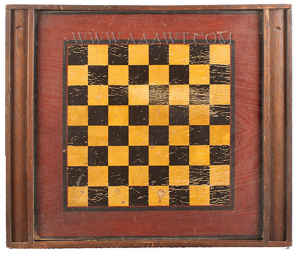 Antique Game Board, Checkers and Hi Q, Late 19th Century, checkers side view
