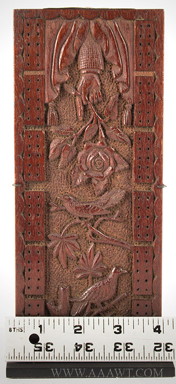 Antique Cribbage Board, Carved Decoration, Second Half 19th Century, with ruler for scale