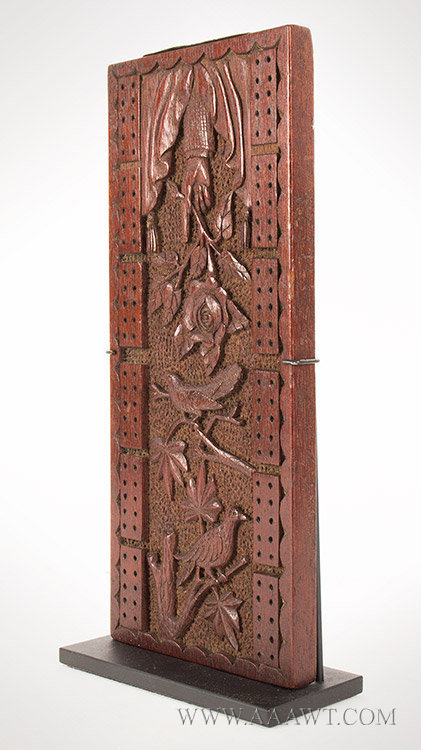 Antique Cribbage Board, Carved Decoration, Second Half 19th Century, side 1 view