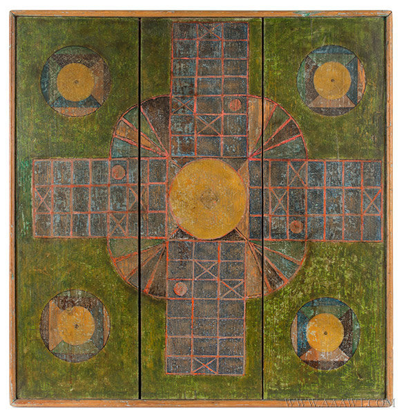 Antique Gameboard, Parcheesi and Checkers, Five Colors, Circa 1900, parcheesi side view
