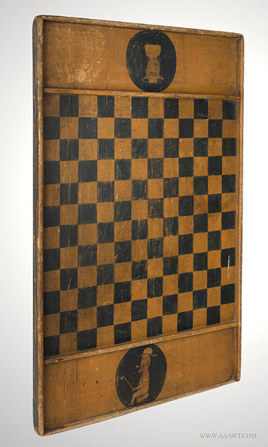 Antique Gameboard in Black and Mustard Original Paint, Late 19th Century, angle view