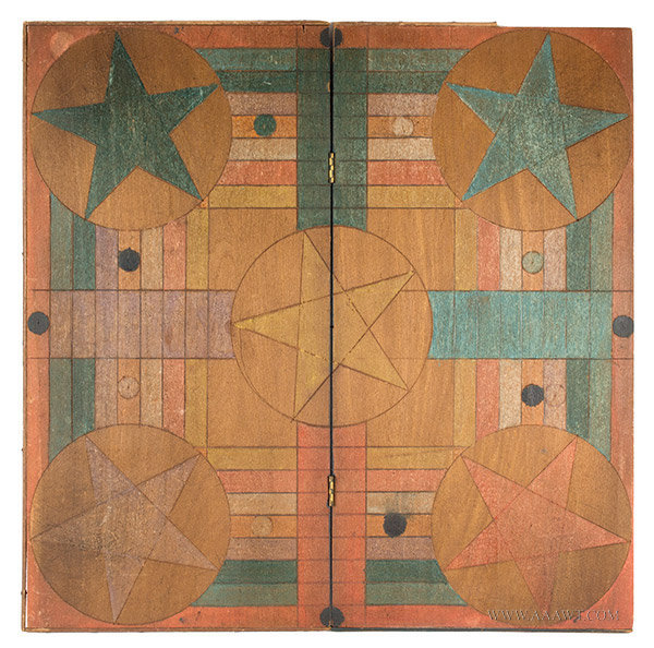 Folding Parcheesi Gameboard with Incised Design, Late 19th Century, entire view