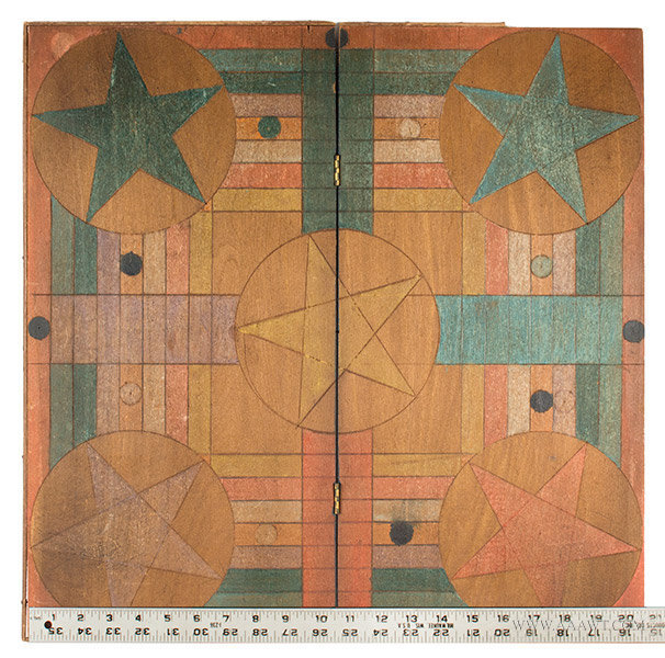 Folding Parcheesi Gameboard with Incised Design, Late 19th Century, with ruler for scale