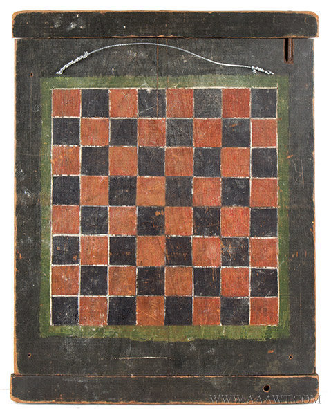 Antique Gameboard, Parcheesi and Checkers, Original Paint, Circa 1900, checkers side view