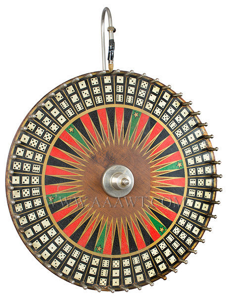 Antique Game Wheel, Carnival Game, Early 20th Century, angle view
