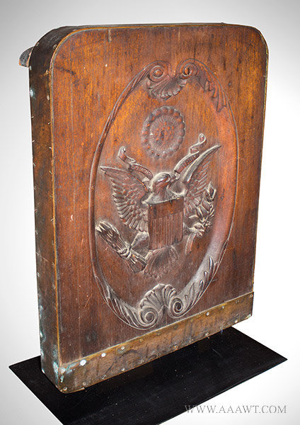 Antique Gangway Board, Carved with United States Seal, 19th Century, angle view