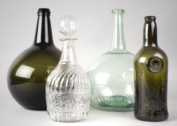 Glass, Bottles, Blown, Molded, entire view