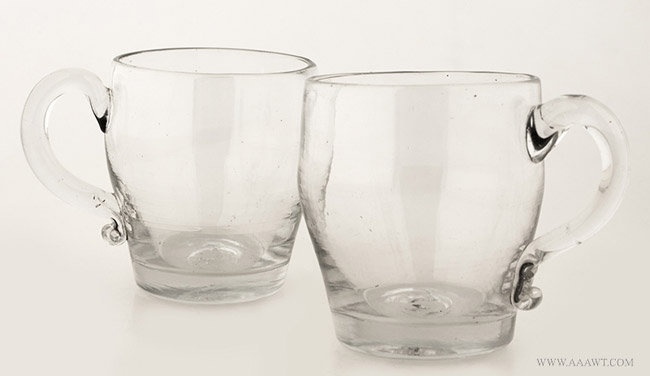 Antique Matched Pair of Blown Colorless Glass Punch Cups with Handles, 19th Century, pair view