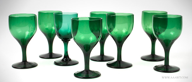 Antique Set of Eight Emerald Green Blown Glass Wine Glasses, 19th Century, group view