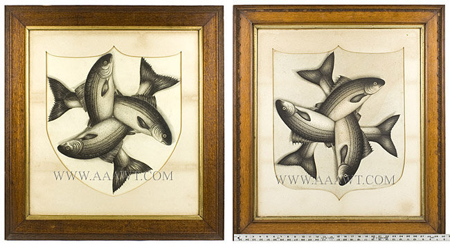 Graphite Drawings, Pair, Striped Bass, Perhaps for a Lodge By John Barrington 1885, entire view