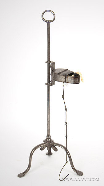 Antique Adjustable Steel Betty Lamp on Stand with Penny Feet, Late 18th ro Early 19th Century, angle view 1