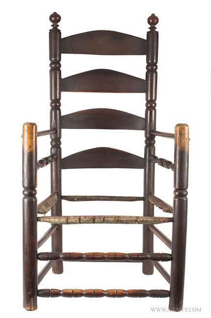 Antique Pilgrim Great Chair with Four Arched Slats in Great Old Surface, Circa 1680, entire view