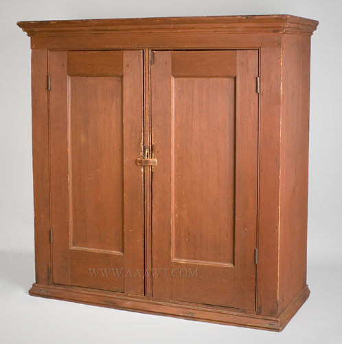 Cupboard, Hanging Cupboard, Original Red Maine 19th Century White pine -  SOLD - Antique Furniture_Cupboards, Built-in Cupboards, Hanging Cupboards