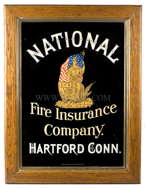 Antique Trade Sign, National Fire Insurance Company, Connecticut, entire view