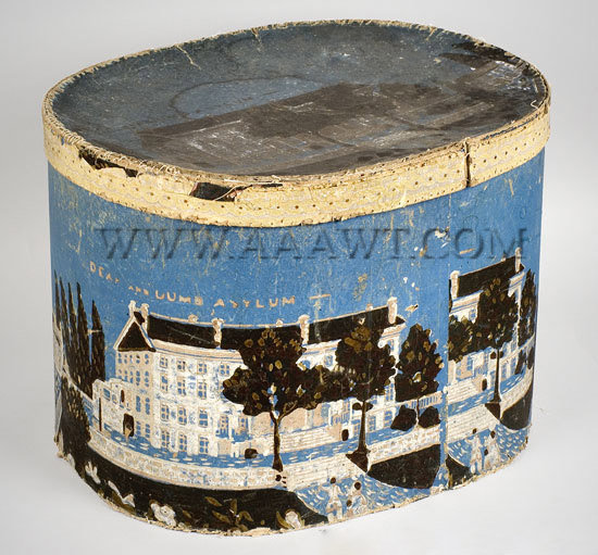 Wallpaper Band Box, 'Deaf and Dumb Asylum' Paper, New York, NY after 1831, entire view