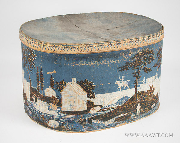 Hatbox, Blue Bandbox, Erie Canal, also called Grand Canal, Extremely Rare  Circa 1830, entire view